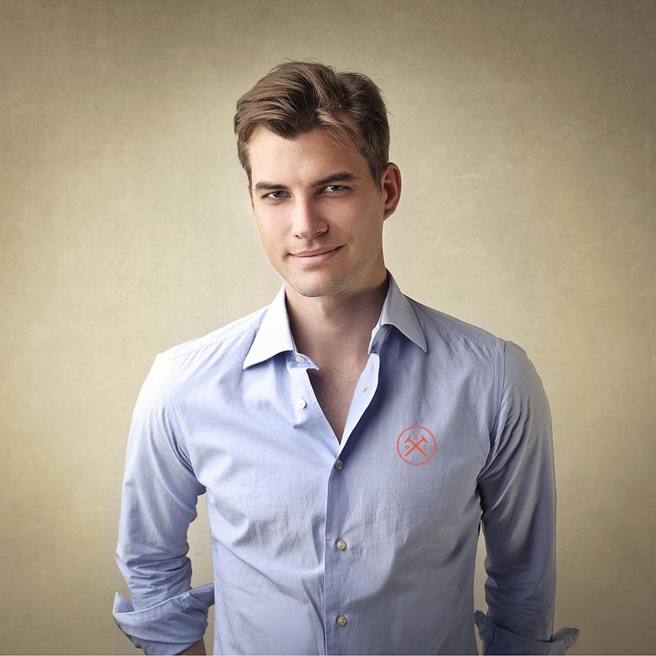 casual button down shirt corporate logo