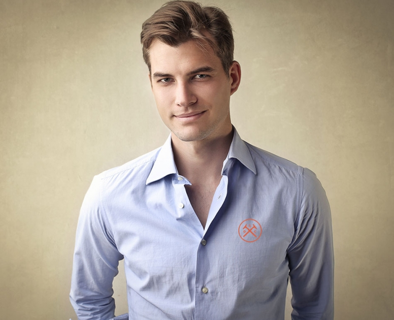 casual button down shirt corporate logo